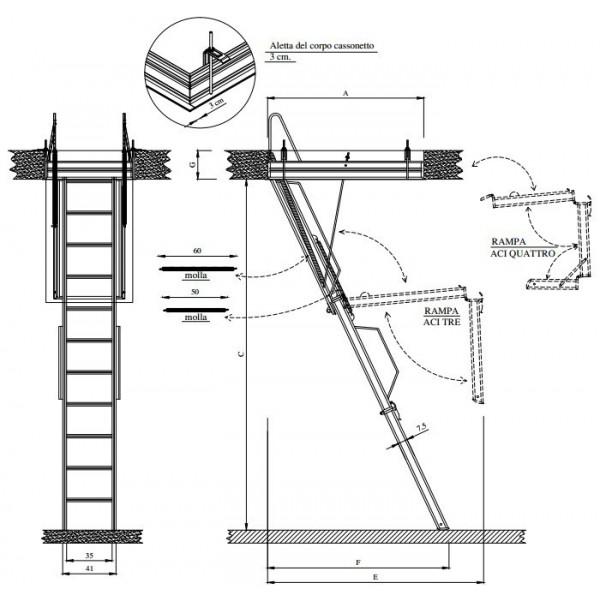 Scala retrattile mansarda aci tre in acciaio - Larghezza scala interna ...