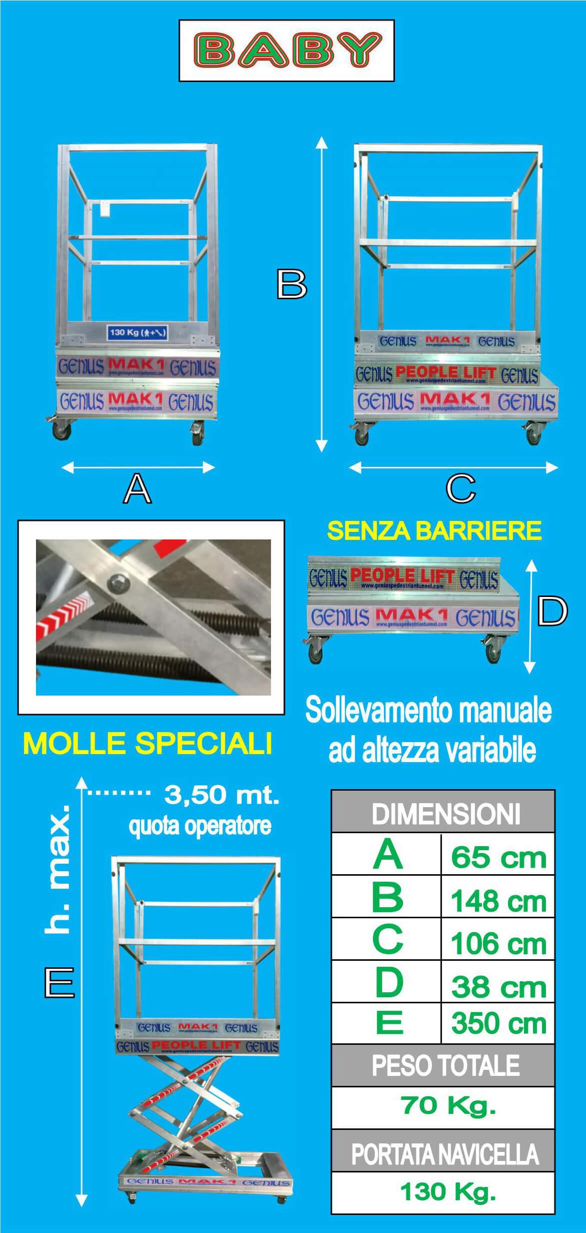 piattaforma in alluminio manuale