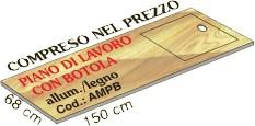 Piano di lavoro alluminio legno compreso nel prezzo