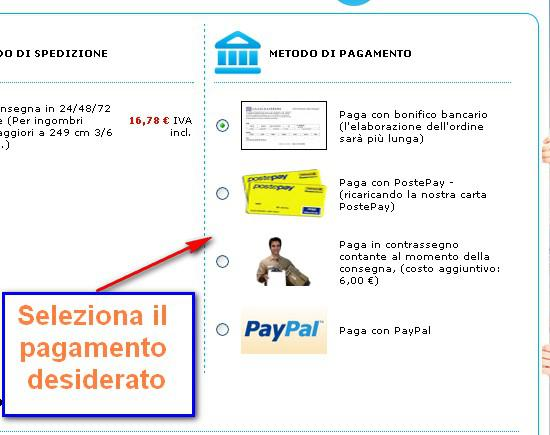 Scelta pagamento