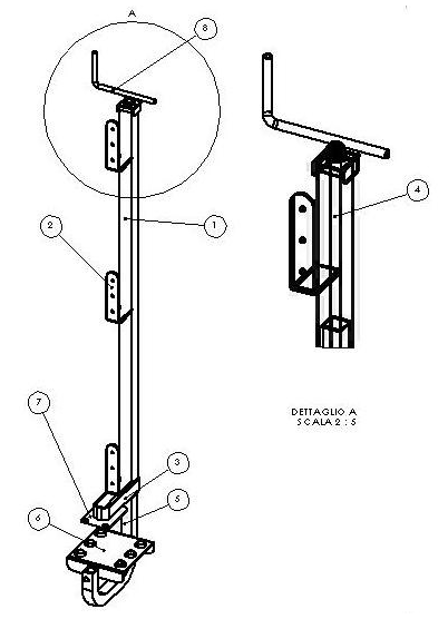 Montante parapetto - sistema di protezione collettiva Mh12