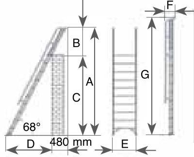 Scheda scala soppalco in alluminio