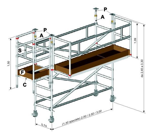 scheda tecnica con misure trabattello balcone