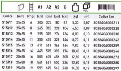 Tabella scala per soppalco facal s15