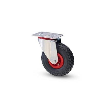 Ruota pneumatica con cerchio in nylon e supporto piastra rotante zincato