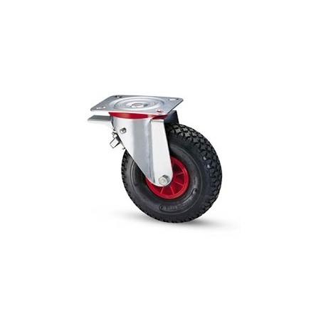 Ruota pneumatica con cerchio in nylon e supporto piastra rotante e freno zincato