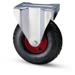Pneumatic wheel with metal rim and fixed galvanized plate support