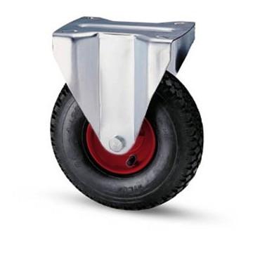 Ruota pneumatica con cerchio in metallo e supporto piastra fisso zincato
