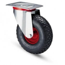 Pneumatic wheel with metal rim and galvanized rotating plate support