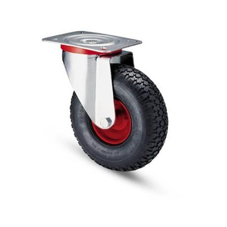 Ruota pneumatica con cerchio in metallo e supporto piastra rotante zincato