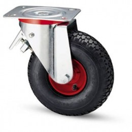 Pneumatic wheel with metal rim and rotating plate support and galvanized brake
