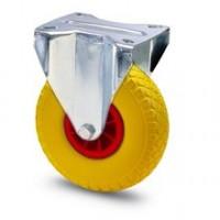 Ruota in gomma piena con cerchio in nylon e supporto piastra fisso zincato