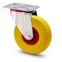 Ruota in gomma piena con cerchio in nylon e supporto piastra rotante zincato