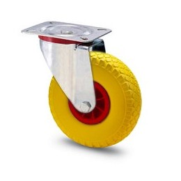 Solid rubber wheel with nylon rim and galvanized rotating plate support