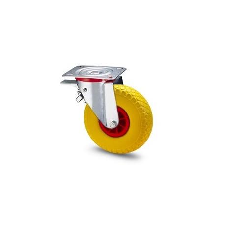 Ruota in gomma piena con cerchio in nylon e supporto piastra rotante e freno zincato