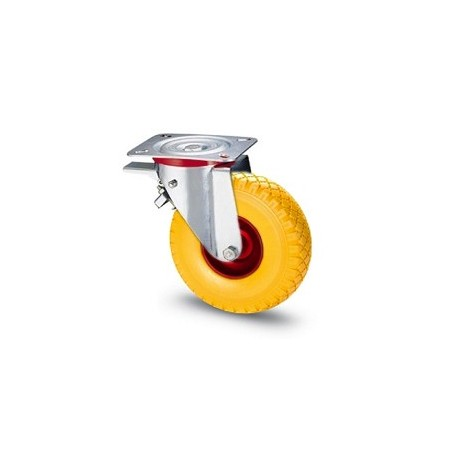 Ruota in gomma piena con cerchio in metallo e supporto piastra rotante e freno zincato