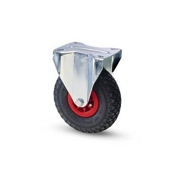 Ruota pneumatica con cerchio in nylon e supporto piastra fisso zincato