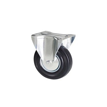 Ruota in gomma nera con supporto piastra fisso zincato