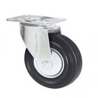 Ruota in gomma nera con supporto piastra rotante zincato