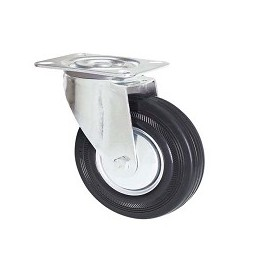 Black rubber wheel with galvanized rotating plate support