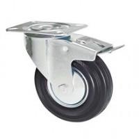 Ruota in gomma nera con supporto piastra rotante e freno zincato