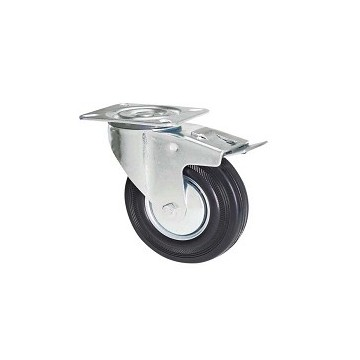 Black rubber wheel with rotating plate support and galvanized brake