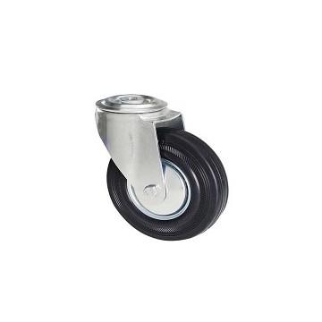 Ruota in gomma nera con supporto foro vite rotante zincato