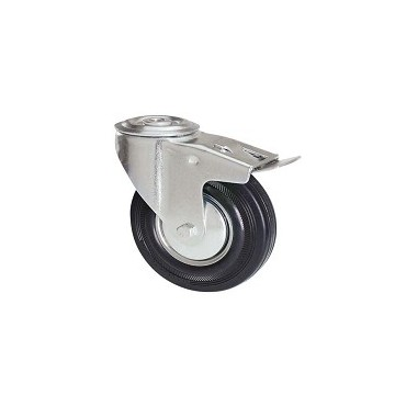 Black rubber wheel with rotating screw hole support and galvanized brake