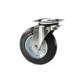 Wheel for garbage containers with metal rim and galvanized rotating plate support