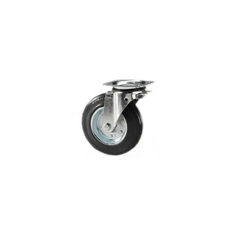 Ruota per contenitori nettezza urbana con cerchio in metallo e supporto piastra rotante zincato