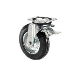Wheel for garbage containers with metal rim and rotating plate support and galvanized brake