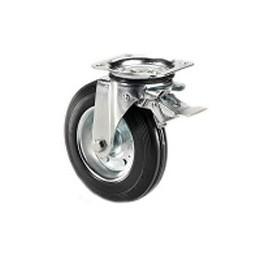 Ruota per contenitori nettezza urbana con cerchio in metallo e supporto piastra rotante e freno zincato