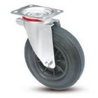 Ruota per contenitori nettezza urbana con cerchio in nylon e supporto piastra rotante zincato