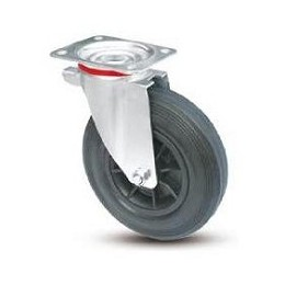 Wheel for street cleaning containers with nylon rim and galvanized rotating plate support