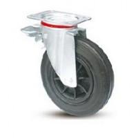 Ruota per contenitori nettezza urbana con cerchio in nylon e supporto piastra rotante e freno zincato