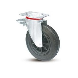 Wheel for street cleaning containers with nylon rim and rotating plate support and galvanized brake