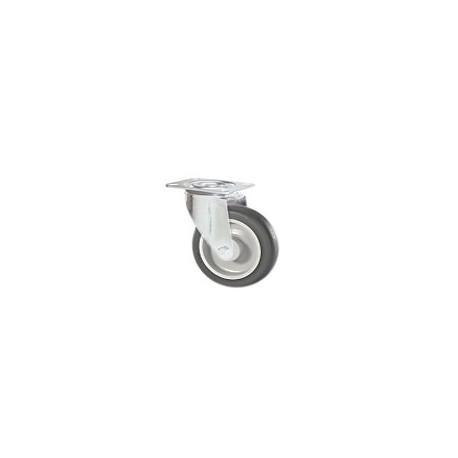 Ruota in gomma grigia con supporto piastra rotante zincato
