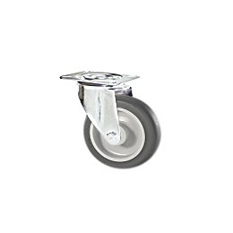 Gray rubber wheel with stainless steel rotating plate support