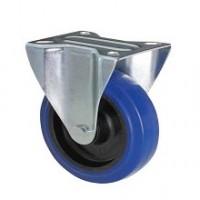 Ruota in gomma blu con supporto piastra fisso zincato