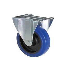 Blue rubber wheel with galvanized fixed plate support