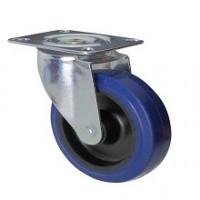 Ruota in gomma blu con supporto piastra rotante zincato