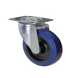 Blue rubber wheel with galvanized rotating plate support