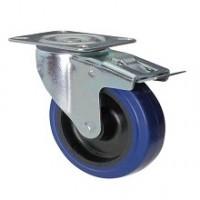 Ruota in gomma blu con supporto piastra rotante e freno zincato