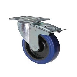 Blue rubber wheel with rotating plate support and galvanized brake