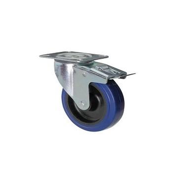 Roue en caoutchouc bleu avec support à plateau tournant et frein galvanisé