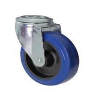 Ruota in gomma blu con supporto foro vite rotante zincato