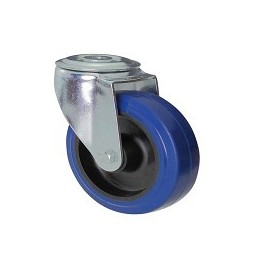 Blue rubber wheel with galvanized rotating screw hole support