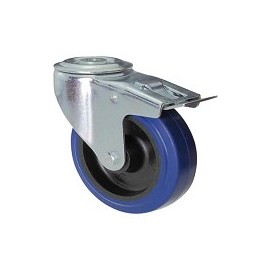 Blue rubber wheel with rotating screw hole support and galvanized brake
