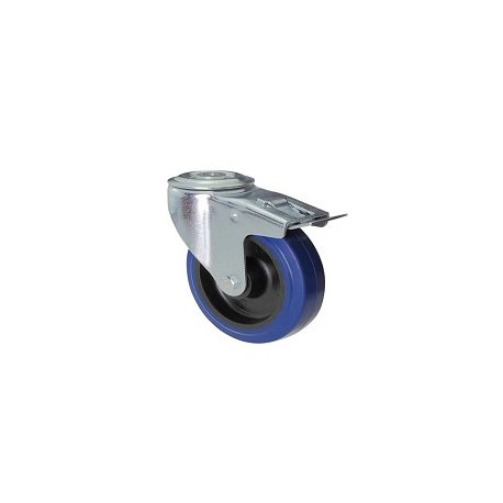 Ruota in gomma blu con supporto foro vite rotante e freno zincato