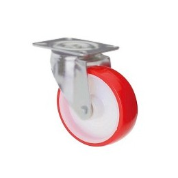 Nylon and polyurethane wheel with galvanized rotating plate support